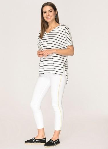 Loves You Hardal İşleme Detaylı Full Skinny Jean Pantolon Beyaz